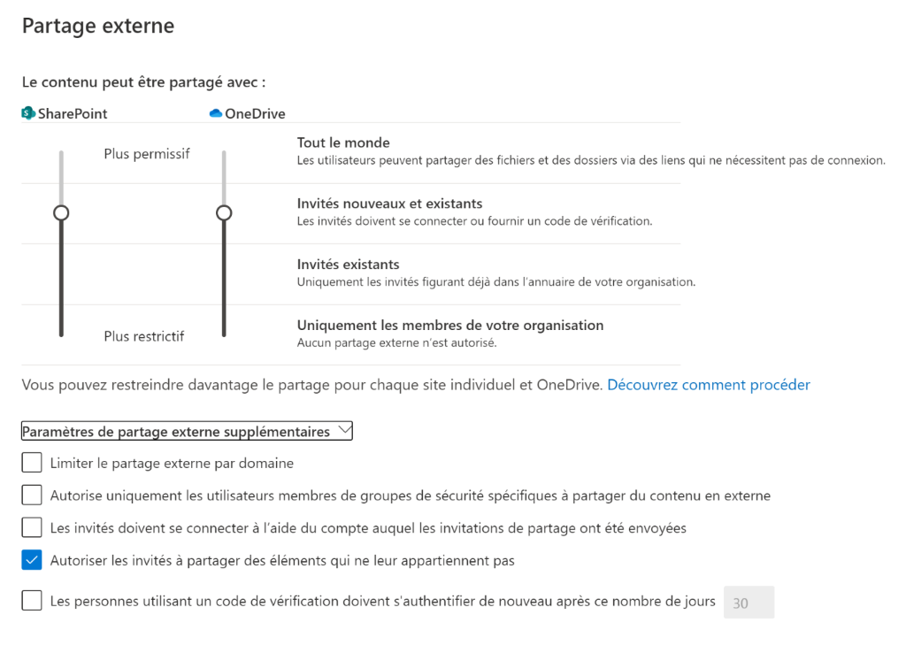 Screenshot administration SharePoint partage externe