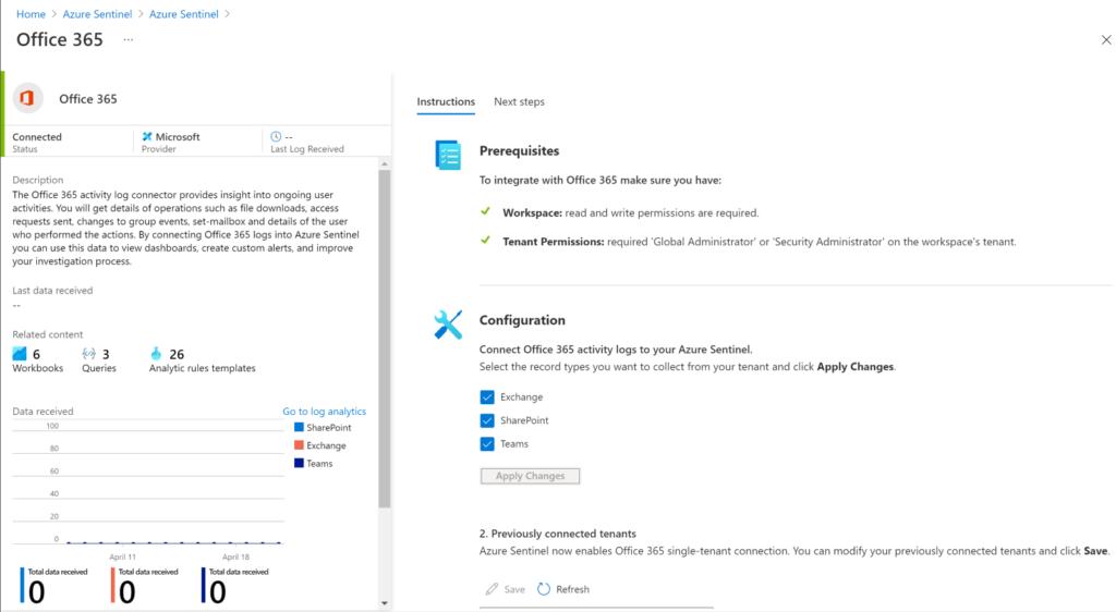 Connecteur Office 365 pour Azure Sentinel